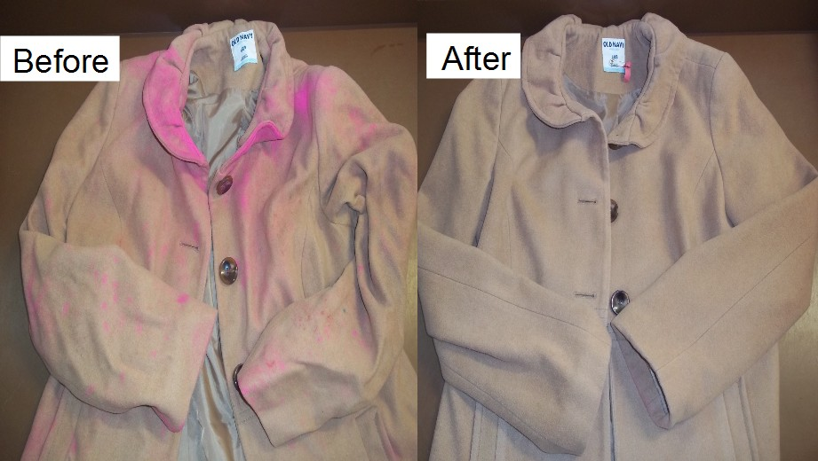stain spots dry cleaning process