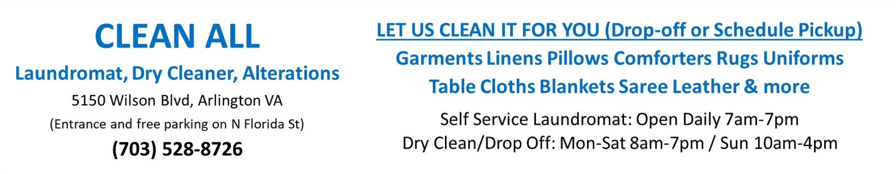 Clean All Dry Cleaners and Laundromat in Arlington VA close to Washington DC- Schedule Pickup and Delivery